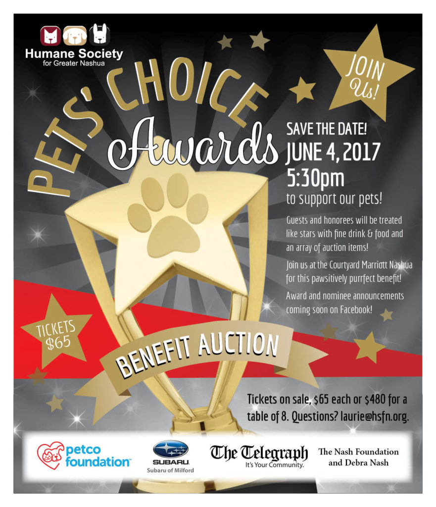 Save the date for the Pets Choice Awards Benefit Dinner & Auction
